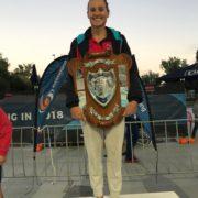 Nunawading Club Captain, Jess Hansen holding 2018 Premier Club trophy